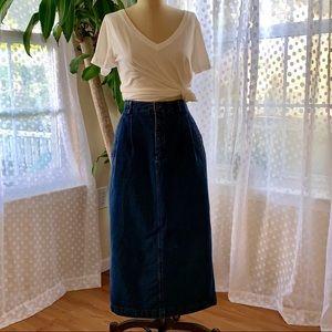 Vintage Lizsport Pleated Denim Midi Skirt 80's 6